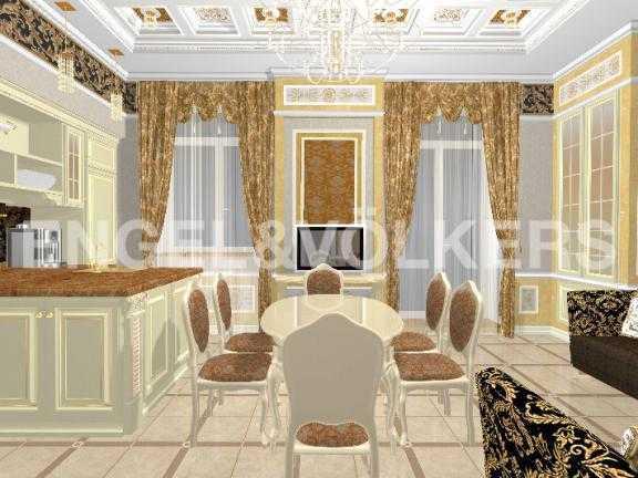Элитные квартиры в Центральном районе. Санкт-Петербург, Дворцовая наб. 12-14. Дизайн-проект столовой