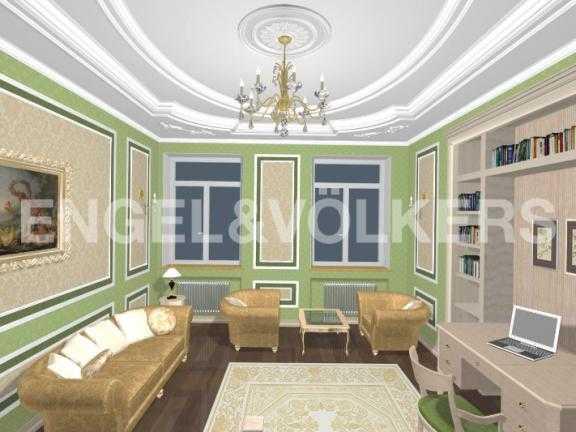 Элитные квартиры в Центральном районе. Санкт-Петербург, Дворцовая наб. 12-14. Дизайн-проект гостиной