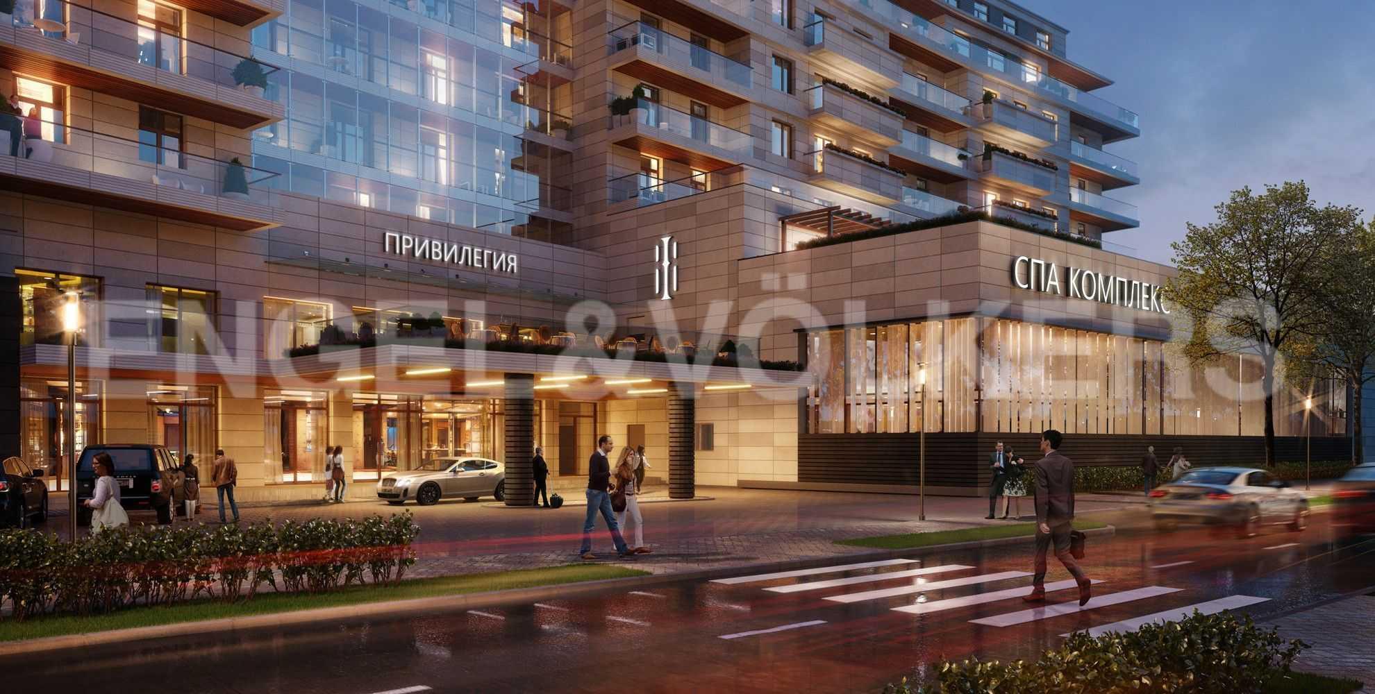 Элитные квартиры на . Санкт-Петербург, Вязовая, 8. Фасад комплекса в вечернее время
