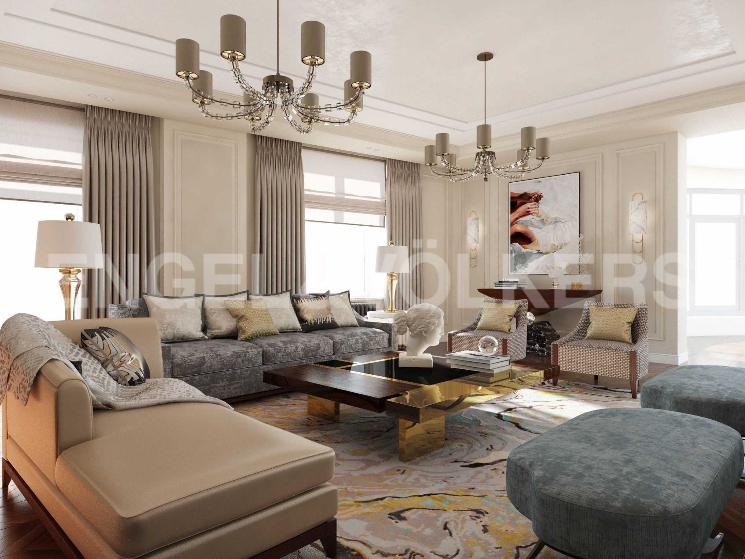 Элитные квартиры в Центральном районе. Санкт-Петербург, Парадная, 3. Дизайн-проект гостиная