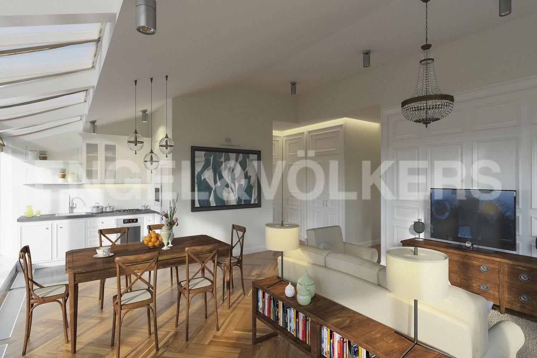 Элитные квартиры в Центральном районе. Санкт-Петербург, наб. Кутузова, 24. Дизайн-проект гостиной и зоны кухни