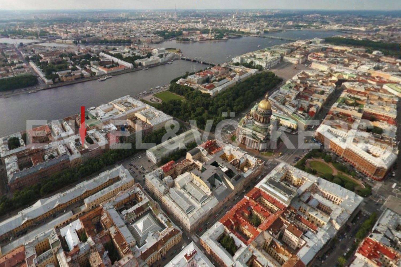 Элитные квартиры в Адмиралтейский р-н. Санкт-Петербург, Конногвардейский бульвар, 13. Вид сверху