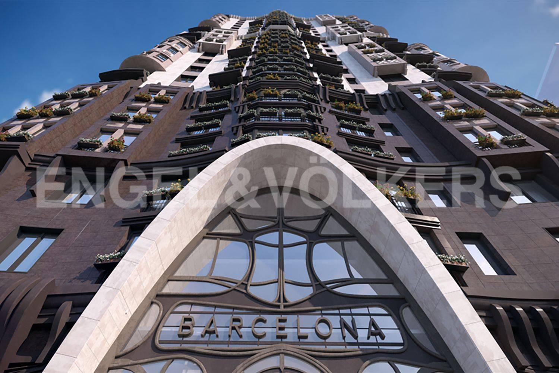 Элитные квартиры в Московском районе. Санкт-Петербург, Московское шоссе, 16. Фасад дома, устремляющийся вверх