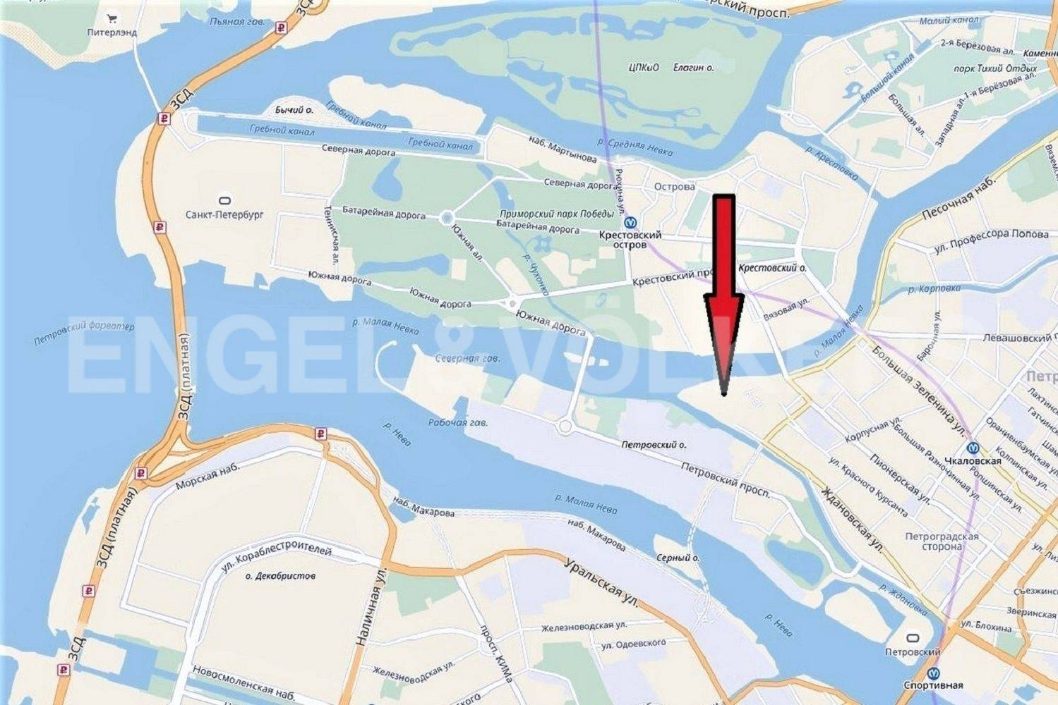 Элитные квартиры в Петроградском районе. Санкт-Петербург, . Местоположение на карте