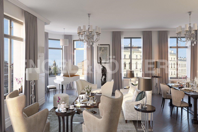 Элитные квартиры в Центральном районе. Санкт-Петербург, Наб. реки Мойки, 102. Пространство, наполненное индивидуальностью