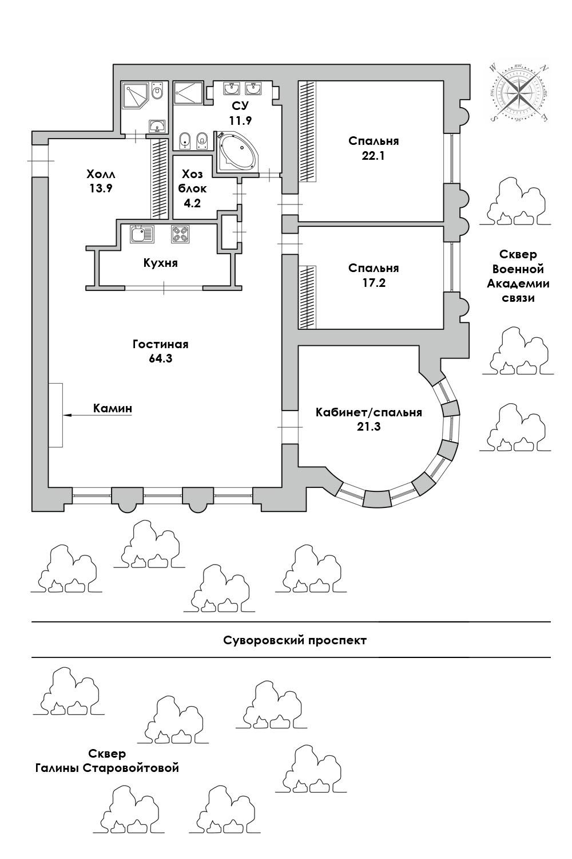 Суворовский, 32 - план квартиры