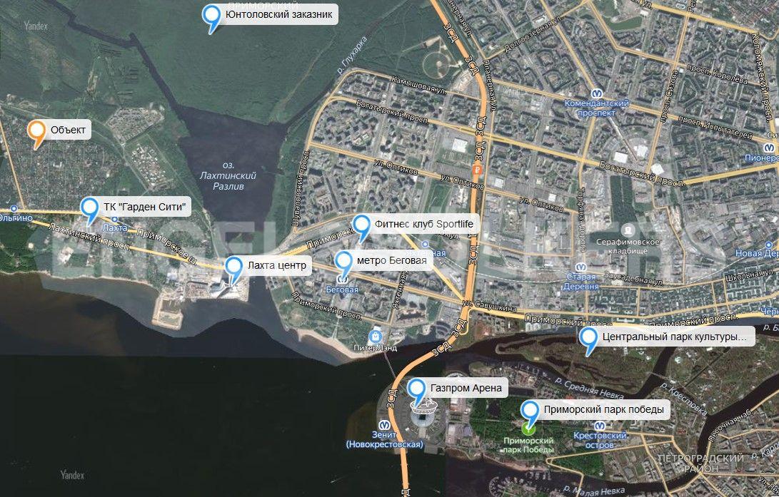 Элитные квартиры в Приморском районе. Санкт-Петербург, территория Ольгино, ул. Коммунаров 44, корпус 2, строение 1. Карта инфраструктуры